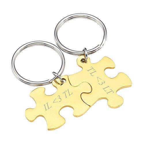 BOPREINA Personalized Gravur 2X Edelstahl 33*22mm Zwei Puzzle Schlüsselanhänger Partner Paare Liebe Freundschaft Schlüsselbund Schlüsselring Keychain (Gold, mit Gravur)