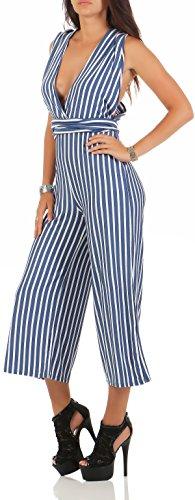 malito Damen Einteiler gestreift | Overall mit tiefem Ausschnitt | Oversize Jumpsuit