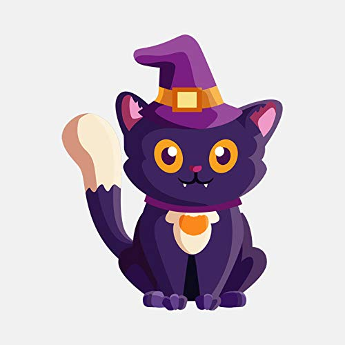 o Aufkleber Vinyl 12 3 cm * 15 4 cm Cartoon Halloween Hexe Cat PVC Dekorative Auto Aufkleber 4 ()