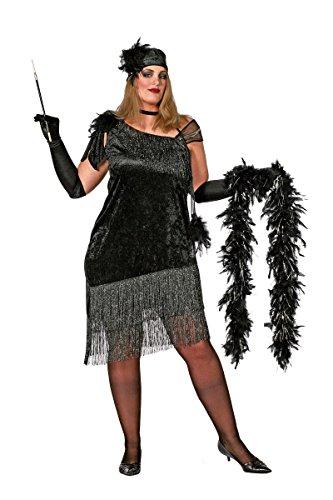 Damen Kostüm Flapper Charleston schwarz Karneval Fasching Gr.48