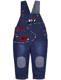 Bébé Denim Salopette Garçons Filles Pantalon pour l'enfant doux Jeans avec Bretelles dessin animé