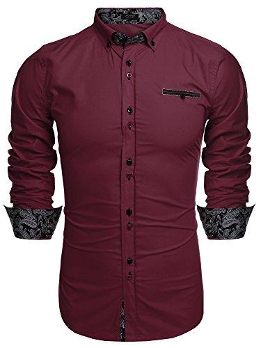 Burlady Herren Hemden Langarm Paisley Kentkragen Slim Fit Bügelleicht Business Hochzeit Freizeit Hemd für Männer - XL , winerot