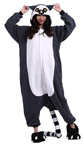 sene Cartoon Tier Kigurumi Pyjamas Nachtwäsche Mit Kapuze Cosplay Kostüm Lemur L for Höhe 168-177CM (Lemur Halloween Kostüme)