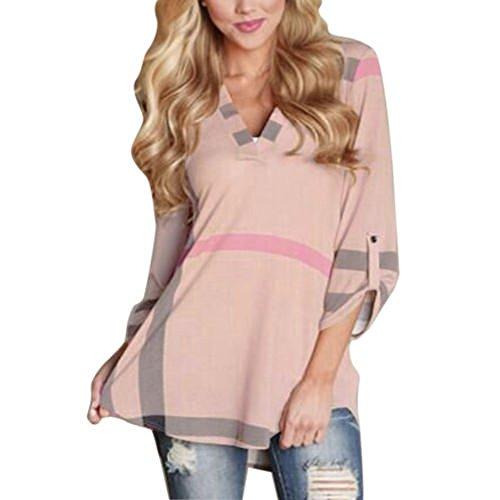 ZEARO Damen Bluse LangArm Shirt T-shirts Kariert Hemd Tunika Karo Hemd V-Neck Tops Rosa
