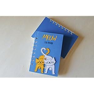 Meow is all you need - Katzen in der Liebe - Notizbuch (Größe 14 x 9,5 cm) - Metallspirale weiße -Handemade Notizbuch - mit der Scrapbooking Technik realisiert - Geschenkidee.