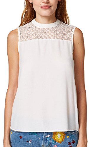 ESPRIT Collection Damen Bluse 058EO1F008, Weiß (Off White 110), 36 (Shirt Crepe-bluse)