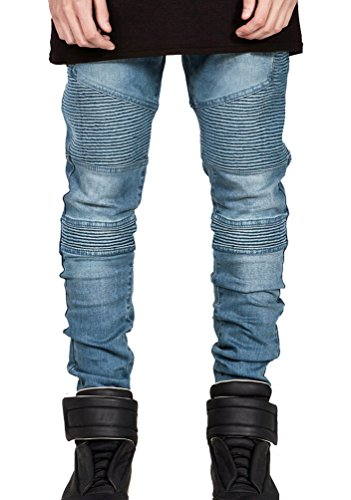 Brinny Herren Jeans Denim Hose Vintage Clubwear Chino Jeanshose Streetwear Regular Fit Biker Blau