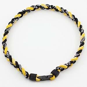 """ChineOn triple tresse 20"""" sport baseball collier de titane ionique(noir/noir/jaune)"""