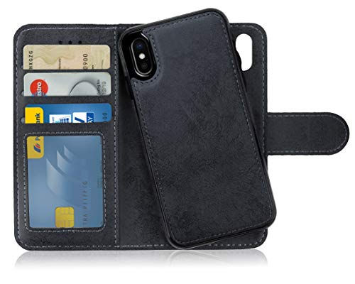 MyGadget Flip Case mit Back Cover [2 in 1] für Apple iPhone XS/X - Magnetische Hülle in PU Leder Klapphülle - Kartenfach Schutzhülle Wallet - Schwarz - Apple Wallet
