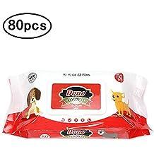 DONO Toallitas desodorizantes para Perros y Gatos, Suaves toallitas Húmedas con Fragancia de Limón para