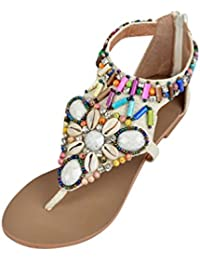 NiSeng Mujer Sandalias Planas Bohemia De Zapatos Con Cremallera Sandalias De Playa Clip Toe Verano Roman T-Correa Sandals