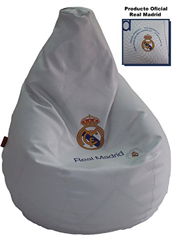 loconfort Real Madrid Puff pera XL (85x85x135cm) (Puff XL, Blanco)