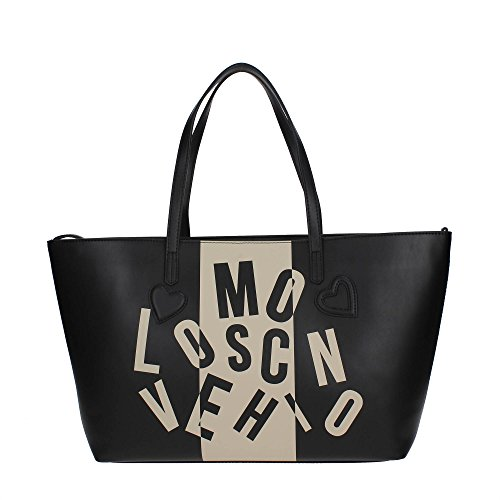 BORSA DONNA LOVE MOSCHINO HEART SHOPPER BLACK RIF AVORIO BS17MO64