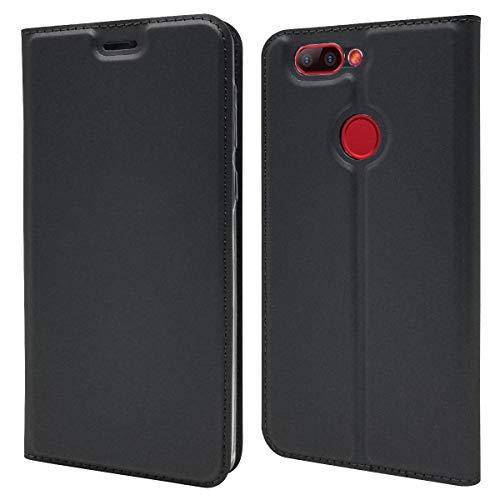 COOLKE Elephone P8 Mini Hülle, PU Leder Flip Protective Cover Bookcase Handy Tasche Schale mit Magnet Standfunktion Etui hülle Schutzhülle Bookstyle Schutz Handyhülle für Elephone P8 Mini - Schwarz
