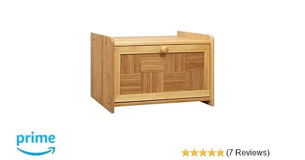 Woodluv Bamboo Bread Bin Loaf Storage Drop Down Front Lid 38 x 23 x 24cm