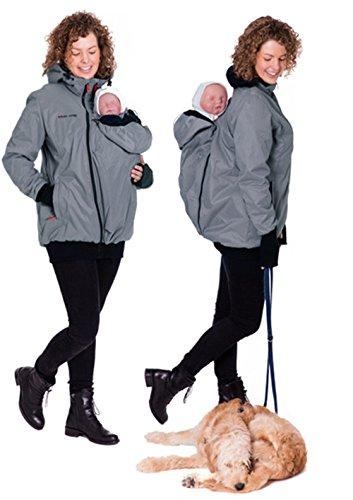 GoFuture Damen Tragejacke für Mama und Baby mit 2 Tragepositionen 5in1 Känguru aus Concordia Shell und Fleece LOVEWINGS GF2071 Hellgrau mit marineblauem Innenfutter