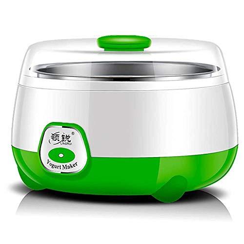 MoMo Kleine Haushaltsgeräte, Joghurt Maschine, Natto Reiswein Maschine, 1 Liter Edelstahl Haushalt Mini konstante Temperatur Joghurt Maschine, vollautomatisch,Grün,Einheitsgröße