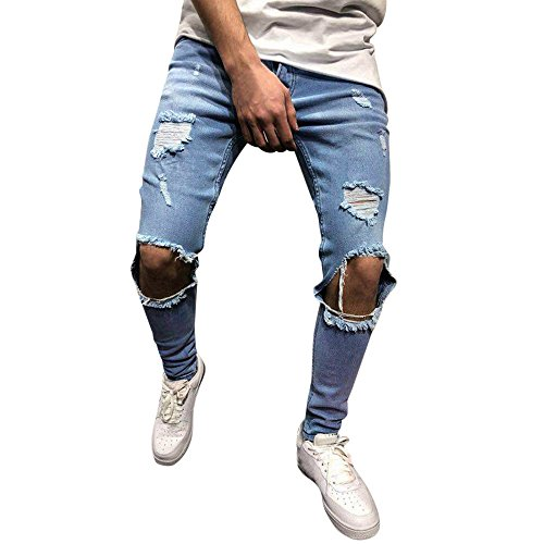 FRAUIT Männer Herren Distressed Jeanshose Ripped Ausgefranste Slim Fit Jeans Skinny Stretch Hose Slim Männer Jeanshosen Denim Pants Super...