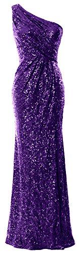 MACloth Women One Shoulder Long Formal Evening Gown Mermaid Sequin Prom Dress (EU40, Regency) - Mermaid Pageant Kleider