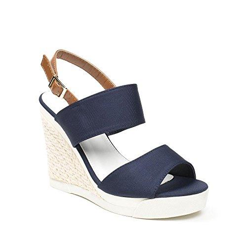Ideal Shoes, Damen Sandalen Marine