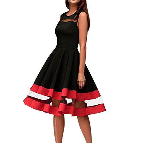 Bademode Elegantes Kleid der Frauen knielanges reizvolles Ineinander greifen Patchwork Oansatz ärmelloses spleißendes Partykleid Bikinis (Color : Schwarz, Size : L) (Mesh-kleid Geraffte)