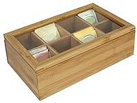 Home Basics Bamboo Tea Box with Window