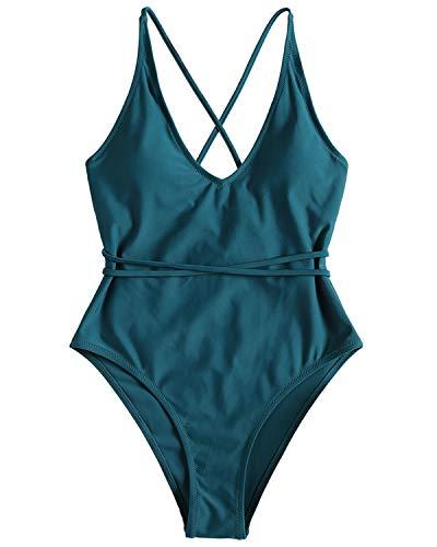 ZAFUL Klassischer Badeanzug Gepolsterter Einteiler mit Crisscross Design High Cut Bademode Strandmode Swimsuit Beachwear Grünliches BlauMedium