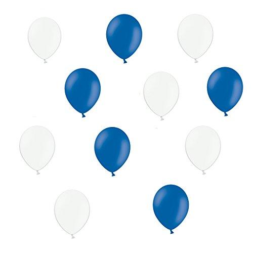 50 Premium Luftballons in Weiß/Blau - Made in EU - 100{91358563980aad1394ea5b829604a9a8412bfffa3a8e8144d5b80ca6f9621071} Naturlatex somit 100{91358563980aad1394ea5b829604a9a8412bfffa3a8e8144d5b80ca6f9621071} giftfrei und 100{91358563980aad1394ea5b829604a9a8412bfffa3a8e8144d5b80ca6f9621071} biologisch abbaubar - Geburtstag Party Hochzeit Silvester Karneval - für Helium geeignet - twist4®