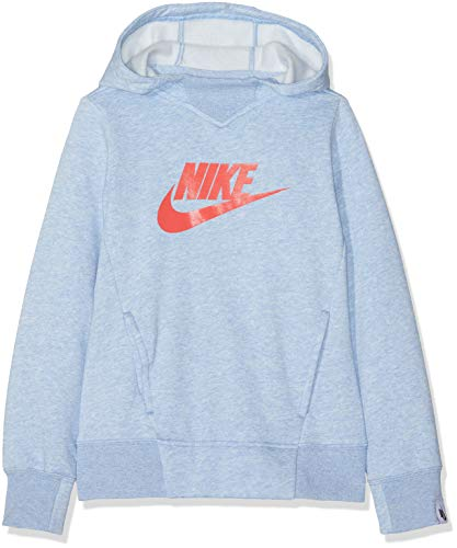 Nike Mädchen G NSW Hoodie PO PE GX Sweatshirt, Aluminum/Htr/Ember Glow, XS