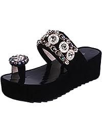 f54d1e7dd08 SUNNSEAN Sandalias Zapatos Mujer Verano Mujer Cristal Bling con Plataforma  Casual Sandalias De Punta Redonda Plano