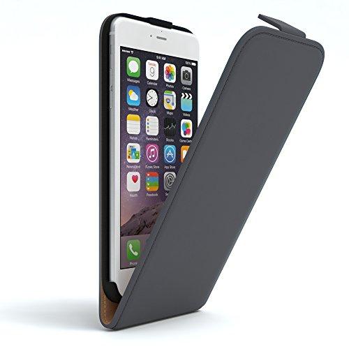 EAZY CASE Hülle für Apple iPhone 6 Plus / 6S Plus Hülle Flip Cover zum Aufklappen Handyhülle aufklappbar, Schutzhülle, Flipcover, Flipcase, Flipstyle Case vertikal klappbar, aus Kunstleder, Anthrazit - Case 6 Vertikal Iphone Leder