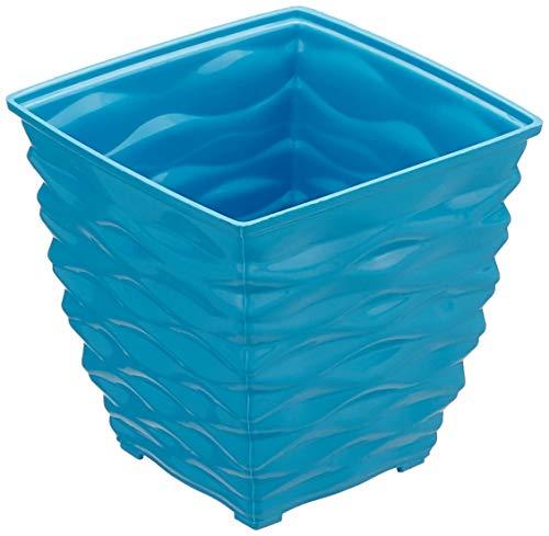 Klassic Plastic Square Planter Set (Small, Blue, Pack of 4)