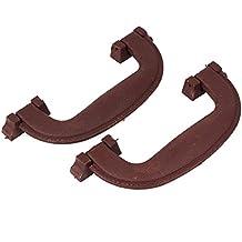 Sourcingmap-Parte 145mm de largo de plástico equipaje Maleta con asa marrón 2pcs