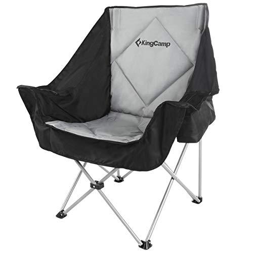 KingCamp XXL Campingstuhl Sofa Relaxsessel Klappstuhl mit Kühltasche Weinglashalter und Getränkehalter Schwarz Grau