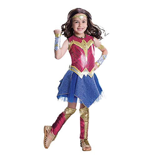 POIUYT Wonder Woman Kostüm Kinder Cosplay Animation Leistung Leistung Shenli Weiblichen Superman Kostüm Ball Leistung Enge Kleidung Kopfbedeckung + Gürtel + Handschutz + Leggings + Overall,Red-L