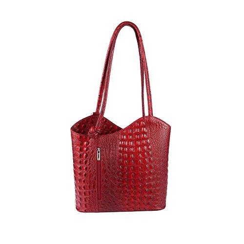 OBC MADE IN ITALY ledertasche-rucksack Strauss Prägung BORSETTA DA DONNA 2 in 12 in 1 Borsa a tracolla borsa a bauletto a Tracolla Tablet/iPad circa 10-12 pollici 27x29x8 cm ( BxHxT ) rosso scuro (COCCODRILLO)
