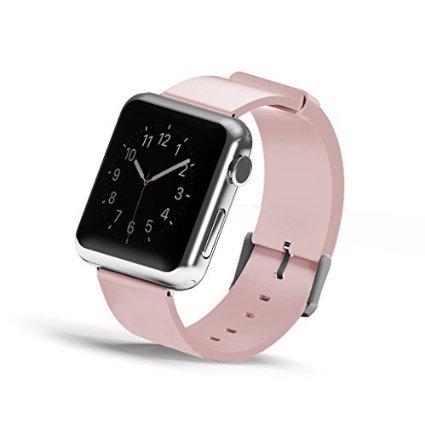 Wearlizer – Reemplazo de correa de reloj de piel genuina con cierre de metal para reloj Apple, todos los modelos, color rosa