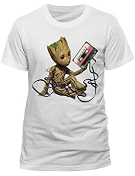 Beats & More Guardians of the Galaxy-Groot & Tape (Unisex), Camiseta para Mujer