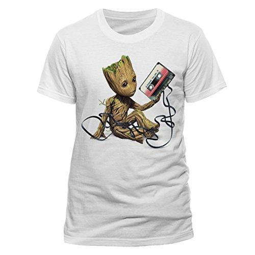 Beats & More Herren T-Shirt Guardians of the Galaxy-Groot & Tape (Unisex) Weiß