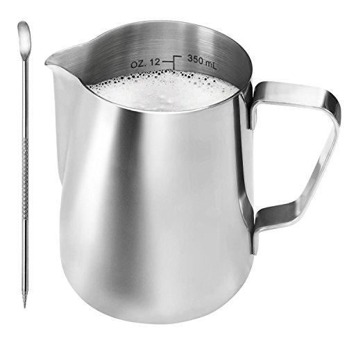 ONEHOUS Milchkännchen Edelstahl 350ml, Milk Jug, Milchaufschäumer Perfekte Größe für 2 Cappuccino Tassen, Barista Stift für Latte Art, Einfach zu Reinigen, Silber thumbnail