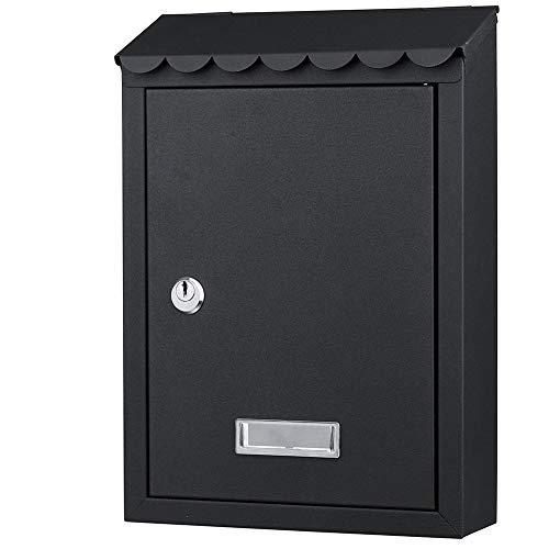 Bakaji cassetta postale da parete in acciaio inox buca lettere per posta da esterno con chiusura a chiave (nero)