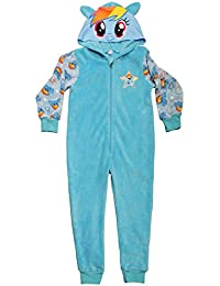 My Little Pony Rainbow Dash Fleece Onesie Girls Hooded All In One Blue Sleepsuit Pyjamas