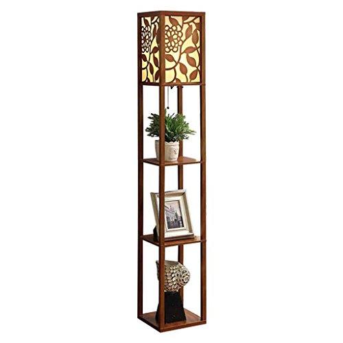 Tao Moderne chinesische Art Geschnitzte Wohnzimmer-Stehlampe, Sofa-Dekoration-Blumen-Regal-Schlafzimmer-Nachttischlampen-kreatives Beleuchtung-Boden-Speicher-Gestell (Farbe : Walnut Farbe) -