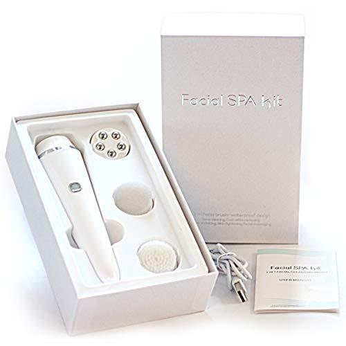 Gesichtsbürste Elektrisch Aufladbar mit Aufsatz - Gesichts Reinigungs Bürste - 3 Aufsätzen - Anti Mitesser und Sanftes Peeling