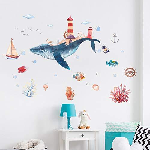 YFLDK Adesivo Murale Underwater World Whale City Acquerello BabyGlass Wndow Adesivi Murali Bagno Decorazioni per La Casa