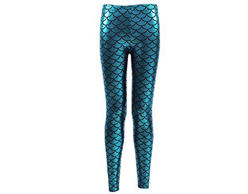 BONAMART  Damen Sexy Gothic Punk Glanz Kunstleder Metallic Mermaid Leggings Lack Leggins Hose