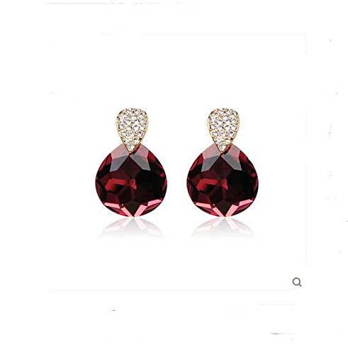 DUlijun Autriche cristal rouge coréen fashion sauvages boucles d'oreilles Boucles d'oreilles hypoallergénique femmes nouveau wine red