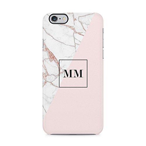 Personalised Customizable Letters Name Initials Custom Quote Black Geometric Marble Custodia Protettiva In Plastica Rigida Cover Per iPhone 5 / iPhone 5s / iPhone SE Case Pink Rose Gold