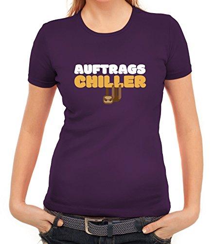 Faultier Damen T-Shirt mit Auftrags-Chiller Motiv von ShirtStreet Lila