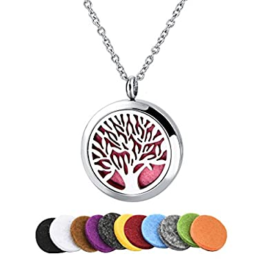 "Long Way Tree of Life 316L Stainless Steel Essential Oil Diffuser Necklace Pendant Jewelry 22.8"" Chain"